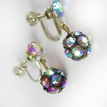AURORA BOREALIS Dangle Drop Earrings Vintage Glowing Rhinestones Screw Backs Jew - $50.00