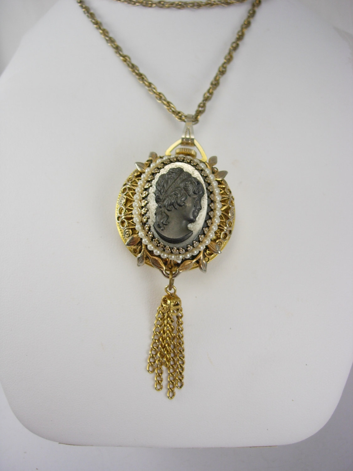 Primary image for Vintage Woldman Swiss watch Cameo  necklace Pendant necklace faux pearls 24 inch