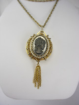 Vintage Woldman Swiss watch Cameo  necklace Pendant necklace faux pearls... - $65.00