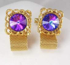 Men WOMENS Purple Rivoli Cufflinks Vintage Prism Floral Mesh Wrap Sculpt... - $95.00