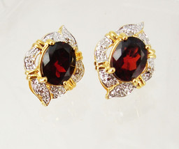 Vintage garnet and cz earrings pierced anniversary birthday business mot... - €24,68 EUR