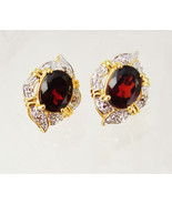 Vintage garnet and cz earrings pierced anniversary birthday business mot... - €25,35 EUR