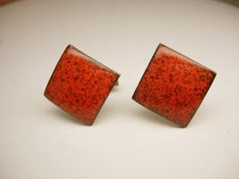 Vintage Burnt Orange Enamel Cufflinks Arts Crafts Copper Pat Pend - $25.00