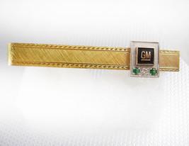 Genuine Diamond Emerald GM Tie Clip Vintage 12KT Gold Filled Black Ename... - $75.00