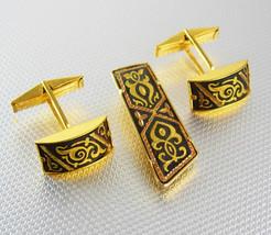 Fancy wedding Cufflinks  Damascene tie clip Vintage Gold Filled Set Ornate Fine  - $135.00