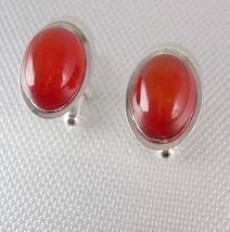 Blood Orange Cabochon Cufflinks Vintage Beveled Silvertone Signed Shields Fine J - $55.00
