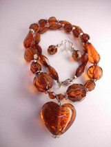 Vintage Faceted Faux Topaz  Necklace Earring Set  amber foil Heart  Drop... - $35.00