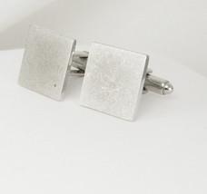 Dante cufflinks Brushed Silver Engravable Vintage Square - $15.00