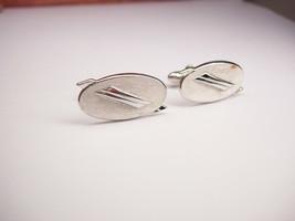 Vintage Modernist Cufflinks Oval Brushed Finish Designer Signed Swank we... - $20.00