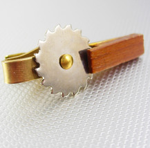 Mechanical Novelty Silver Cutting Blade Tie Clip Vintage Gold Filled Woo... - $65.00