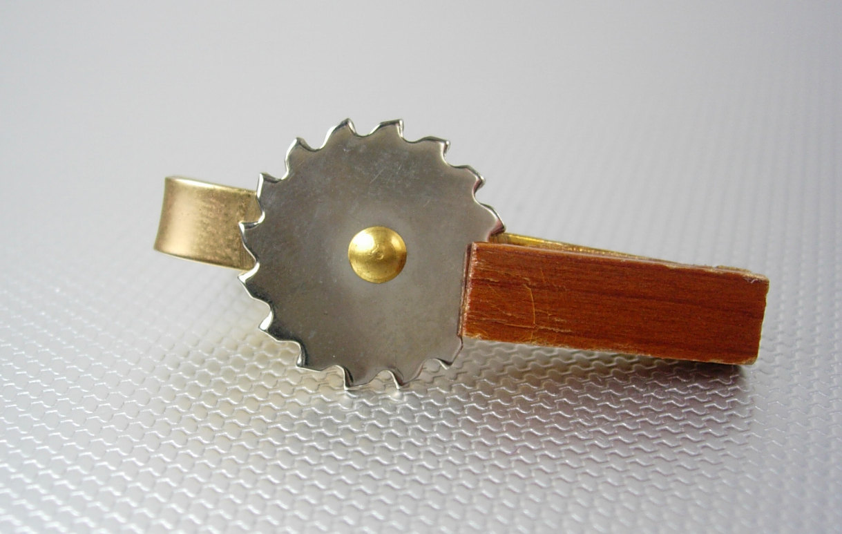 Mechanical Novelty Silver Cutting Blade Tie Clip Vintage Gold Filled Wood Handle