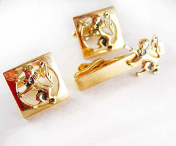 Large ENGLISH LION Cufflink Vintage Tie Clip Set  Gothic Medieval Design... - $110.00
