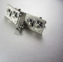 Sculpted Pewter Two Crowns Cufflinks Vintage Petite Tie clip Set Shields Steampu - $95.00