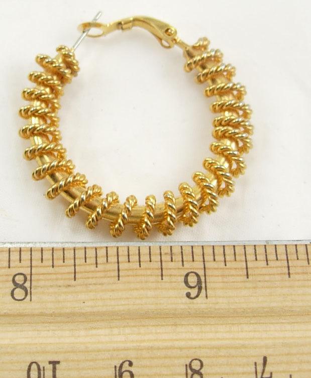 Vintage Ann Klein golden hoop earrings gold chain wrap pierced large birthday bu