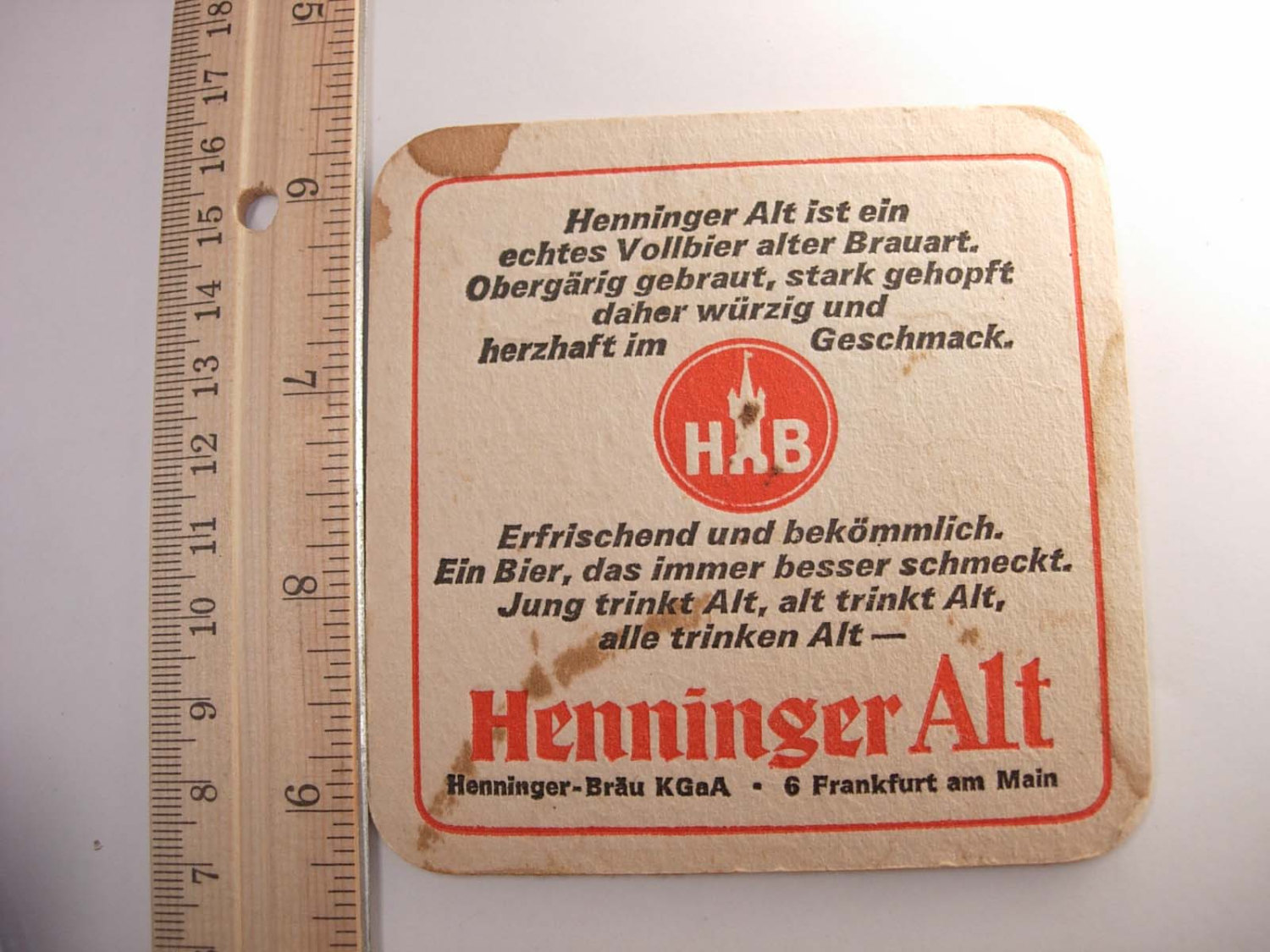 Vintage Henninger Beer Coaster Alt  Collectors Frankfurt Germany Deustch