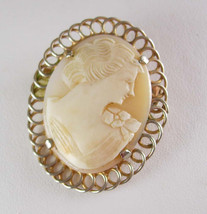 Genuine Carved Cameo Brooch Vintage Lapel Pin Figural Women Gold Filled ... - $65.00