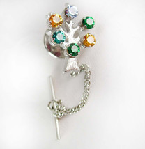 Tree Of Life Birthstone Tie Tack Vintage Sterling Rhinestone Children's ... - $60.00