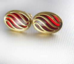 Fabulous RED stain glass cufflinks Anson gold filled high quality - $95.00