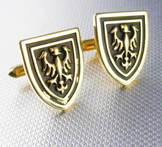 Vintage Swank Shield eagle cufflinks medieval shield enamel gold filled - $65.00