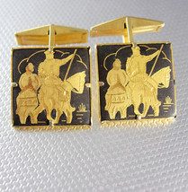 Vintage Damascene samurai Chinese warrior cufflinks - $225.00