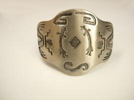 LARGE Kokopelli Tribal Indian Bracelet  Wide Cuff with Indian Symbols - $65.00