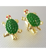 Whimsical Sea Turtle Cufflinks Vintage Figural Gold Filled Red Green Ena... - $85.00