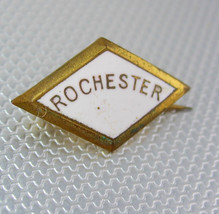 Vintage Rochester Gold Filled Enamel Lapel Pin Pin Back Diamond Shape Ba... - $45.00