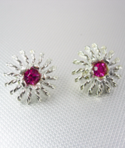 Pink Faceted Jeweled Silver Earrings Clip On Vintage Signed Emmons Birthstone - $55.00