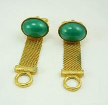 Irish Green Cufflinks Vintage Wrap Mesh Cabochon Design Birthday Business Weddin - $40.00