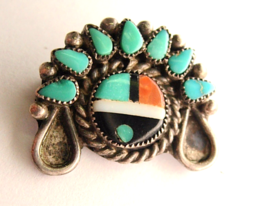 Vintage Sterling Silver Small Zuni Mask Brooch with Turquoise Coral and ... - $50.00