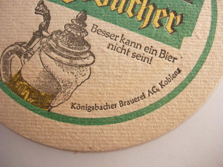 Konigsbacher Brauerei Vintage Coaster Koblenz Germany Deustch