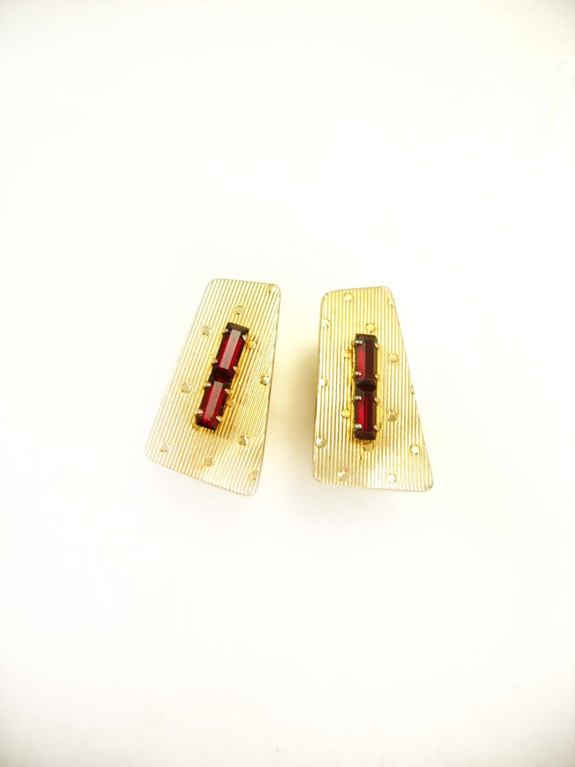 Primary image for Vintage Art Deco Cufflinks Red Jewel Baguettes Birthday Wedding Business Marked