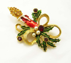 Vintage Christmas Candle rhinestone Brooch Red Jewel Pearl  Christmas - $15.00