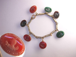 Vintage Victorian Antique Intaglio Cameo Charm Bracelet Gods Goddesses W... - $150.00
