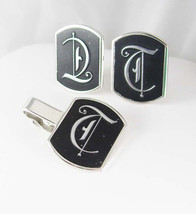 Distinctively Large Monogrammed DT TD Cufflinks Vintage Tie Clip Set Script Call - $145.00