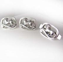 Lion Rampart Knight Cufflinks Vintage Tie Clip Set  King Of Scots Heraldry Desig - $155.00