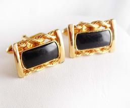 Classy Sculpted Black Onyx Cufflinks Swank designer Fine jewelry - $70.00