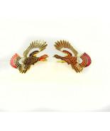 Turkey Enamel Cufflinks Vintage Gamecock Pheasant Black Red White Bird H... - $75.00