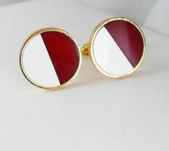 Half and Half inlay Cufflinks Vintage Chocolate Vanilla Modernist Designer SHIEL - $65.00