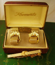 Krementz Hand Crafted 14kt Gold Overlay Cufflinks Vintage Tie Clip Set Mesh Wrap - $125.00
