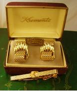 Krementz Hand Crafted 14kt Gold Overlay Cufflinks Vintage Tie Clip Set M... - $125.00