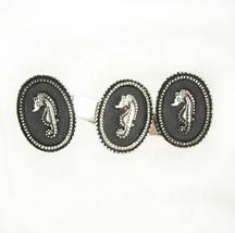 Vintage black enamel seahorse cufflink set with tie clip wedding anniver... - $110.00