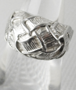 Sculpted Sterling Silver Ring Vintage Wedding Band Woven Silver 4.6 Gram... - $65.00