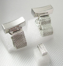 Dante Mesh Wrap Cufflinks Vintage Silvertone Tie Tack Set Modernist Mens Ladies  - $75.00