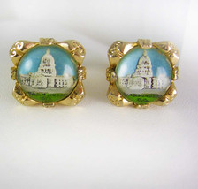 Vintage Reversed Painted Cufflinks CAPITOL Washington The White House Po... - $95.00