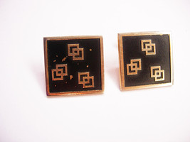 Vintage Geometric Squares Cufflinks Abstract Modern Enamel Signed Swank - $20.00
