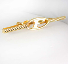 F Initialed extra long TIE CLIP Vintage gold filled signet Monogram Desi... - $65.00