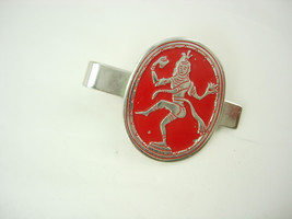 Vintage Red Goddess Tie Clip Enamel Siam Silver Color Asian Birthday Business Fa - $35.00