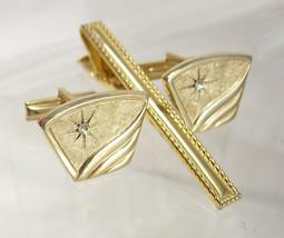 Vintage faux diamond starburst cufflink set  with tie clip rhinestone te... - $60.00