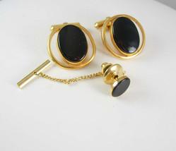 Destino Black Onyx Cufflinks Vintage Tie Tack/Tac Cufflink Set Designer ... - $80.00